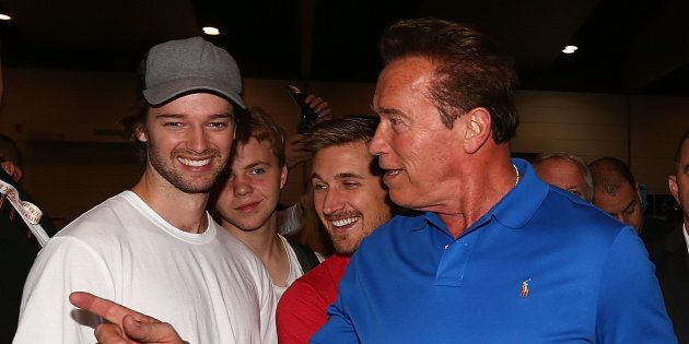 Arnold Schwarzenegger speaks with his son Patrick at the 2017 Arnold Classic in Melbourne.
