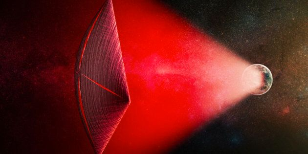 An artists illustration of a light-sail powered by a radio beam red generated on the surface of a planet The leakage from such beams as they sweep across the sky would appear as Fast Radio Bursts FRBs
