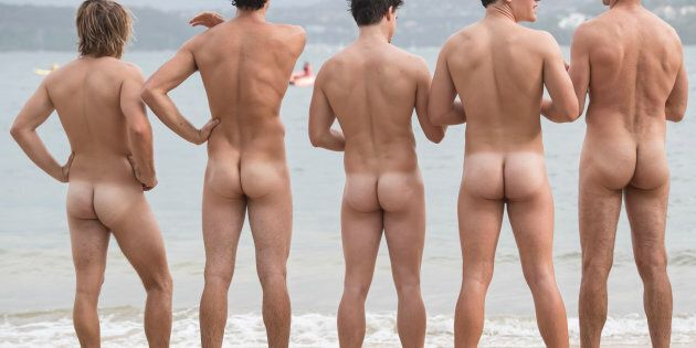 Swimmers taking part in the annual nude fundraiser, The 'Sydney