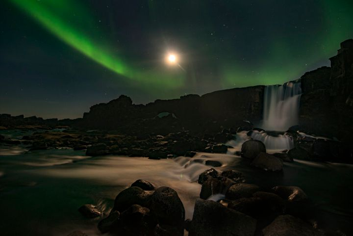 The Northern Lights are often visible at Thingvellir National Park from April through to August each year.