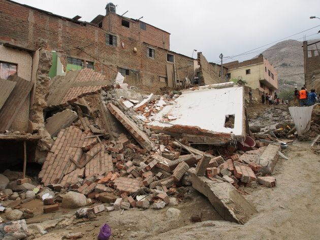 A mudslide destroyed homes in the town of Chosica, east of Lima. Almost 100,000 people have been made...