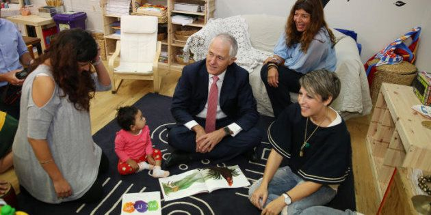Prime Minister Malcolm Turnbull visits a Canberra childcare centre as he hopes his childcare package...