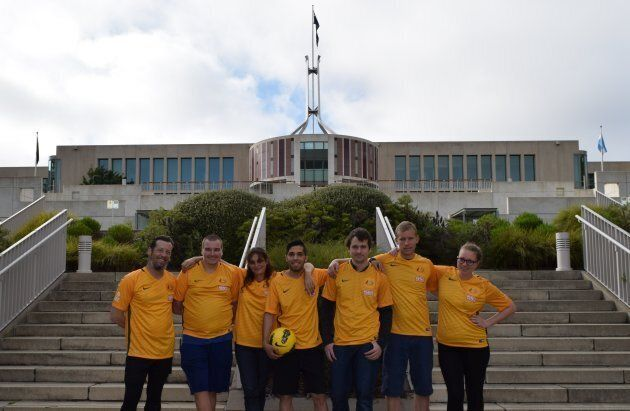 The Street Socceroos team, outside Parliament House on