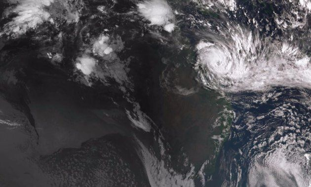 A satellite image of Cyclone Debbie of the coast of northern Queensland at 8:20am on