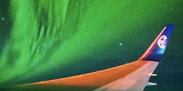 Looking very much like this airliner was somehow transported to deep space and became caught inside a nebula the truth is just as spectacular The image is from a video sequence during a March 23 Air New Zealand charter flight that flew 134 passengers who paid for the thrill of flying round-trip from New Zealand to the Antarctic Circle in the middle of the Southern Lights aka the Aurora Australis