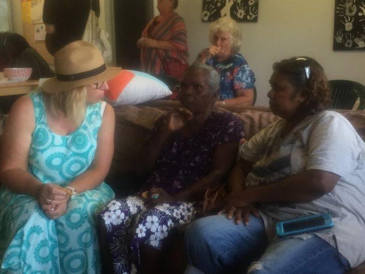 Rosie Batty during her visit to the Dampier Peninsula Safe House.