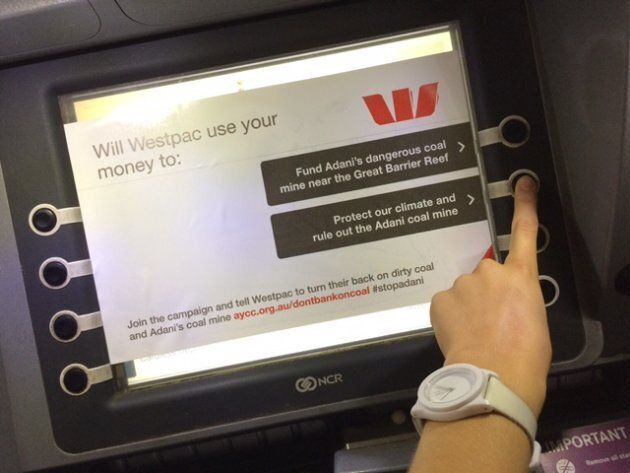 The graphics posted on Westpac ATMs around the country by the AYCC