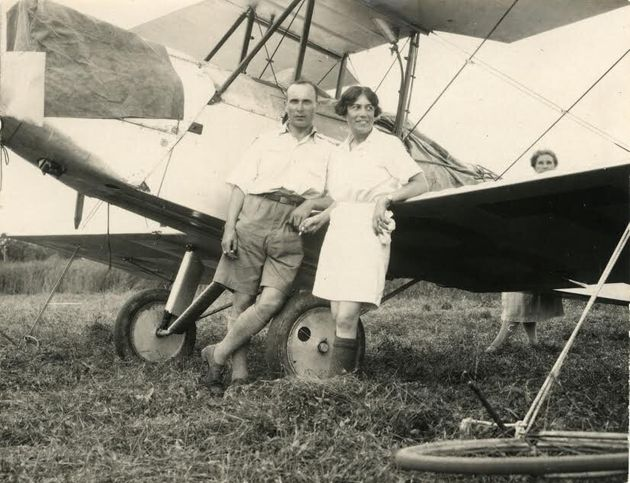 Jessie Keith Miller and Bill Lancaster after they landed at Darwin in 1928 after flying from England....