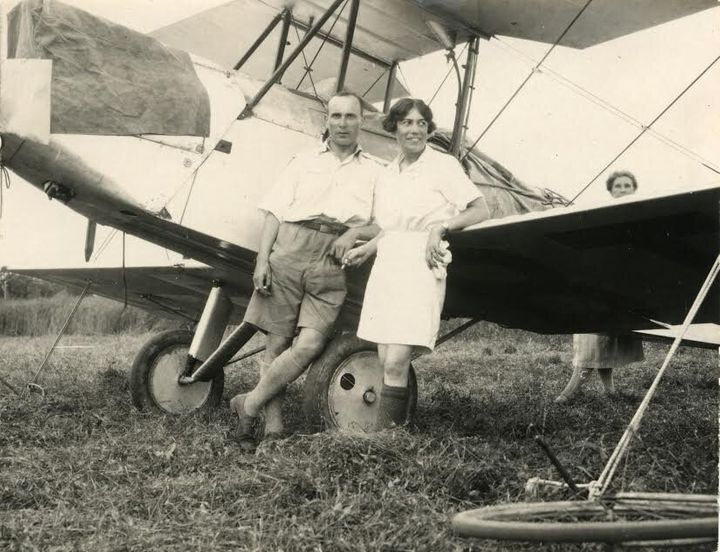 Jessie Keith Miller and Bill Lancaster after they landed at Darwin in 1928 after flying from England. Note Jessie's shorts that set the nation agog.
