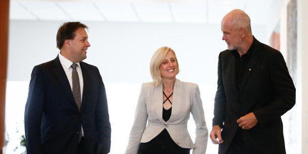 Jason Falinski and Katy Gallagher with Australian Republican Movement Chair Peter FitzSimons at Parliament...