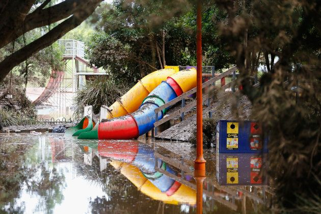 LISMORE, AUSTRALIA - APRIL 02:  Parts of Lismore's CBD still affected by floodwaters on April 2, 2017 in Lismore, Australia. Heavy rain has caused flash flooding in south east Queensland and Northern New South Wales as as ex-cyclone Debbie makes its way south across the country. Category 4 Cyclone Debbie hit Northern Queensland on Tuesday 28 March, causing widespread damage.  (Photo by Jason O'Brien/Getty Images)