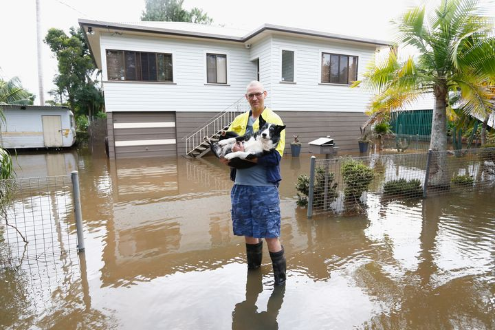 Lismore resident Michael with his dog ' Buddy' outside their house on April 1, 2017.