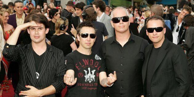 The Grinners are back: Phil Jamieson, Joe Hansen, Pat Davern and Kristian Hopes of Grinspoon arrive on the red carpet at the ARIA Awards in 2007.