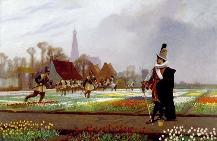 Soldiers destroy tulips to reduce supply and stabilise prices following the sudden collapse of tulip prices in seventeenth century Holland. The Tulip Folly (1882) by Jean-Léon Gérôme