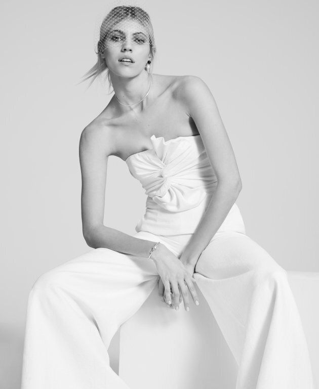 A custom-created wedding jumpsuit from the new bridal collection.