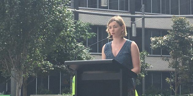 Sarah, speaking at a Youth Homelessness Matters Day event in Sydney