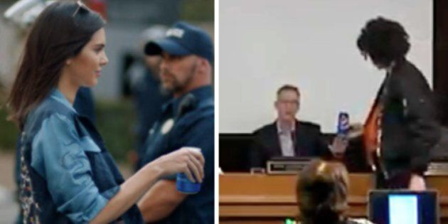 Left: In the cancelled commercial Kendall Jenner somehow solves police brutality by handing a police officer a can of Pepsi. Right: A protester in Portland attempts to hand the mayor a can of Pepsi, too.