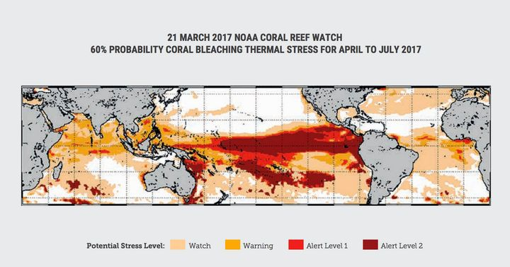 NOAA Coral Reef Watch's Coral Bleaching Alert Area for April to July 2017, issued on 21 March
