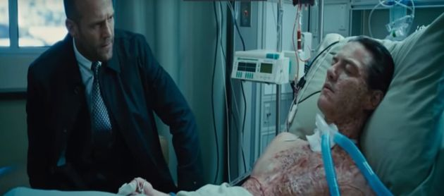 Deckard Shaw visits brother Owen in hospital. Look at this face, he is ready to seek