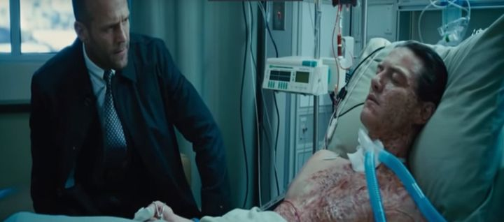 Deckard Shaw visits brother Owen in hospital. Look at this face, he is ready to seek revenge.