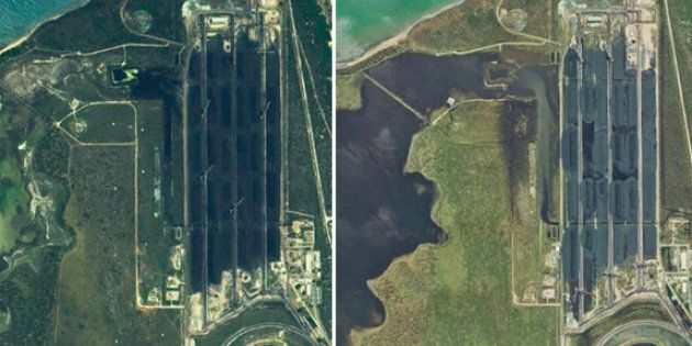 Satellite images show Caley Valley wetlands before Cyclone Debbie (left). After the cyclone (right), sediment-laden water is seen flowing from the Abbot Point coal terminal into the sensitive wetlands.
