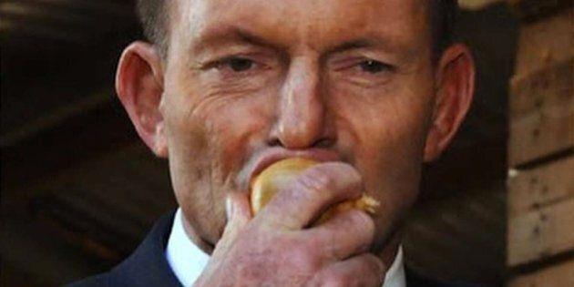 Tony Abbott eats a