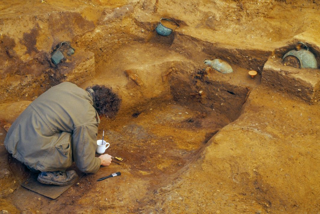 Archaeologists excavate the burial chamber in Prittlewell, Essex (PA)