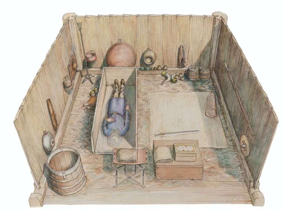 Reconstruction drawing of the burial chamber believed to be that of Seaxa, brother of King Saebert (PA)