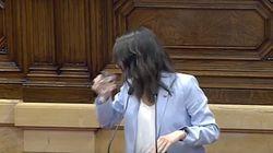 Inés Arrimadas, a punto de romper a llorar en el Parlament: