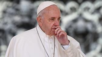Pope Francis ponders during the weekly general audience on May 8, 2019 at St. Peter's square in the Vatican. (Photo by Filippo MONTEFORTE / AFP)        (Photo credit should read FILIPPO MONTEFORTE/AFP/Getty Images)