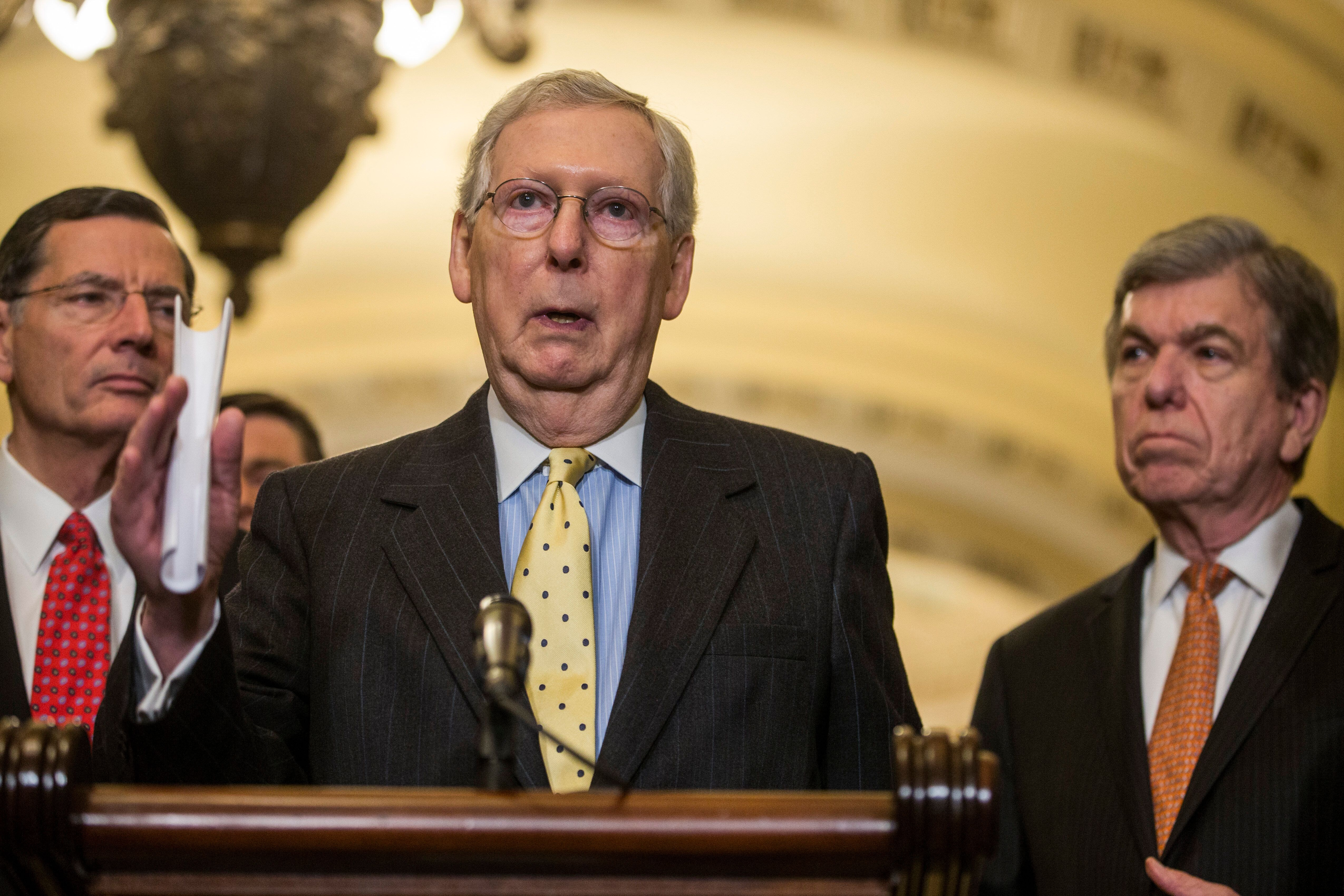 WASHINGTON, DC - APRIL 02:  Senate Majority Leader Mitch McConnell (R-KY) speaks during a news conference following a weekly policy luncheon on April 2, 2019 in Washington, DC.  Also pictured are Sen. John Barasso (R-WY), and Sen. Roy Blunt (R-MO).  (Photo by Zach Gibson/Getty Images)