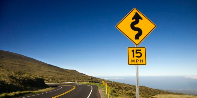 Curvy road sign in Haleakala National Park, Maui,