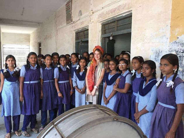 Teenage girls at Jyotiba Phule school, India on the day of the official opening of a girls toilet block...