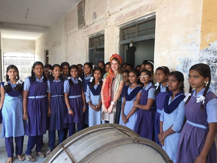 Teenage girls at Jyotiba Phule school, India on the day of the official opening of a girls toilet block - a life changing day for these students.