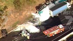 Petrol Tanker Crashes On Melbourne Freeway, Car Trapped