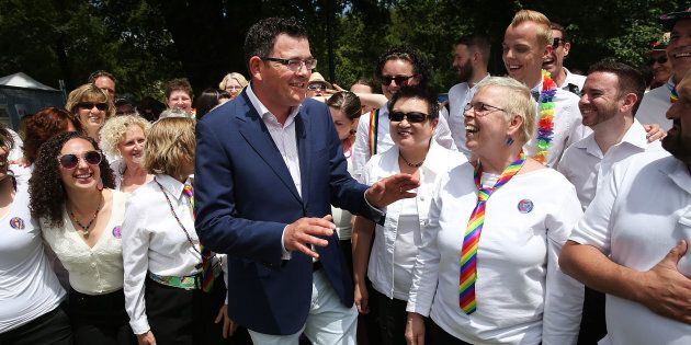 Daniel Andrews at Midsumma Festival, a celebration of the LGBTI community, in Victoria in