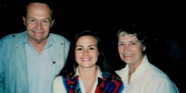 Lisa Wilkinson with her father, Ray, and her mother,