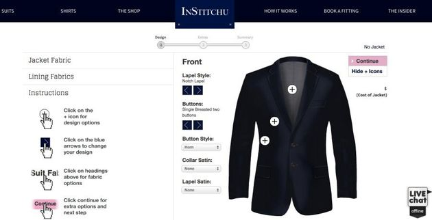 InStitchu's website allows customers to design their own