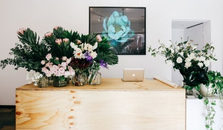 Birchall's store serves as a showroom for his flowers, artworks from local artists and other products he stocks.