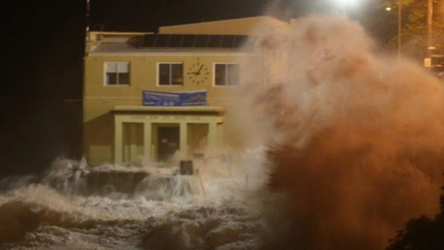 Huge waves battered the iconic Coogee Surf Club