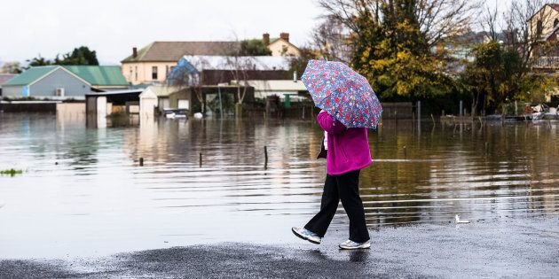 Towns have been cut off after the Mersey River broke its banks near