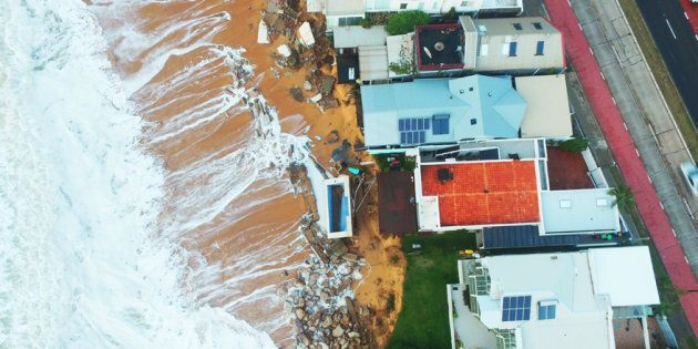 Drone footage shows coastal erosion in