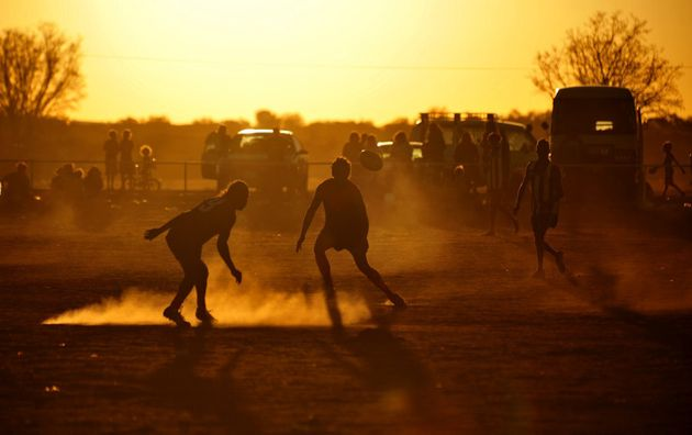 A friendly football match in Yuendumu, Northern