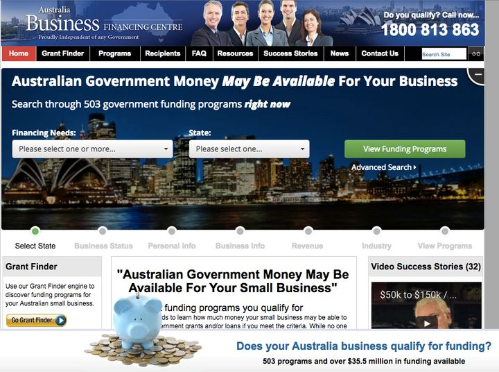 The ACCC has warned small business owners about the Australian Business Funding Centre's page.