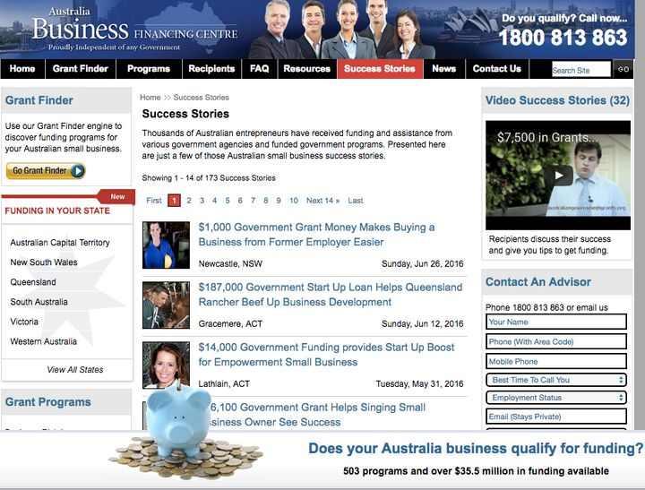 Small businesses listed on the site as success stories told the ACCC they have never used the service to gain access to government grants.