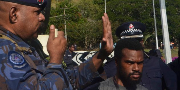 A moment captured during the June 8 protest in port Moresby. Police opened fire on marching