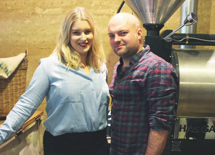 Laura Evans, with husband Lachlan Evans, say weekend penalty rates are a major issue for their cafe business in Victoria.