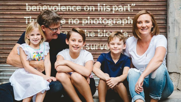 Sam Fletcher, with her husband Lachlan and their children, has launched a Kickstarter campaign to fund her TV doco series on Aussie entrepreneurs in New York.