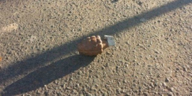 A rusty grenade has been found in the middle of