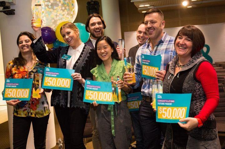 The seven winners of the Future Makers competition, left to right:  Marina Paronetto, Penny Harnett, Brian Collyer, Marita Cheng, Dr Rowan Tulloch, Colin Jowell and Rhianon Vichta.